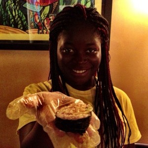 Janet, one of our sushi interns, with a mango/ avocado/ guyabana roll.