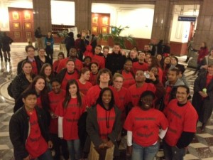 Common Ground students turned out in force to support the level of charter school funding promised in last year's education reform law.