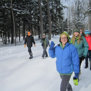 Miranda out for a snowy hike at the Conserve School, a semester program in Wisconsin