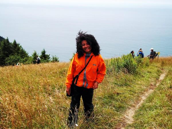 Common Ground Senior Ariana Rodriguez  on the saltmarsh island in Oregon