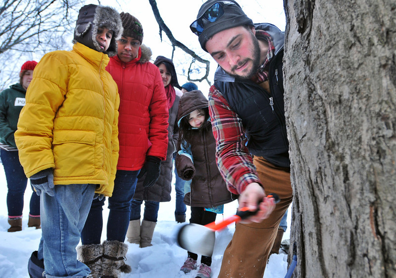 CG Kyle Sirianno demonstrates how to tap trees at Edgewood Park