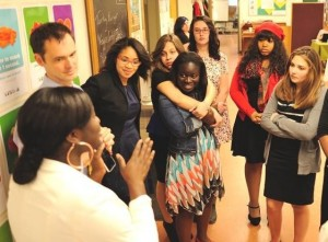 Students Yasmine Scipio, Thalee Martinez, Jeanne Sakouvogui, Olivia Clapp, Nyasia Mercer, Jillian Kenyon talk networking with Ms. Quaye and Mr. Johnston. Students were encouraged to shake hands with every guest, engage guests in conversation by inquiring about careers or school, and to offer information on their schooling and activities.