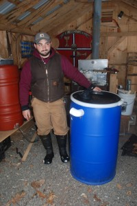 One of these big blue tanks worth of sap becomes one gallon of maple syrup.