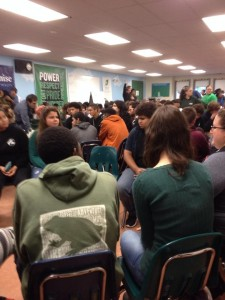 All students gather for a town hall meeting in Common Ground's cafeteria.