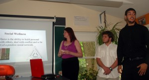 Meghan, Elmer, and Omar present the wellness triangle.