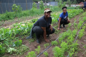 Marline works on the farm with her sister, who came to visit her for a week and learn along side her.