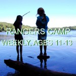 "The silhouettes of two young teenages or preteens fish and explore Lake Wintergreen. The words ""Rangers Camp, weekly, ages 11-13"" are written across the photo."