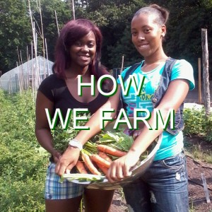 "Two African-American female high school students stand on the farm holding harvested carrots. The words ""How We Farm"" are written over the photo."