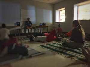 Special Education teacher Dan Bianchini leads students in guided meditation, visualization, and relaxation.