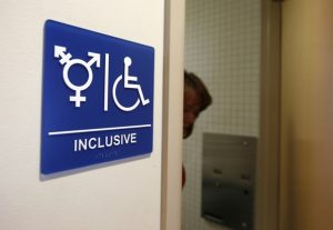A gender-neutral bathroom is seen at the University of California, Irvine in Irvine, California September 30, 2014. The University of California will designate gender-neutral restrooms at its 10 campuses to accommodate transgender students, in a move that may be the first of its kind for a system of colleges in the United States.