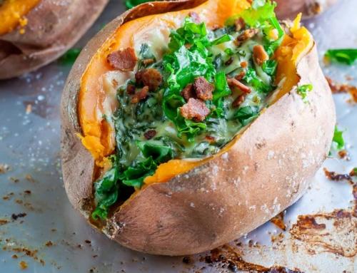 Seasonal Recipe: Cheesy Kale Stuffed Sweet Potatoes